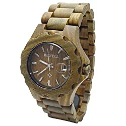 Handmade Wooden Watch Made with Natural Wood in Green Zebra - HGW-165