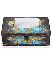 BTSKY PU Leather Facial Tissue Box, Rectangular Napkin Holder Tissue Holder Box for Home Office Car Automotive Decoration Gift
