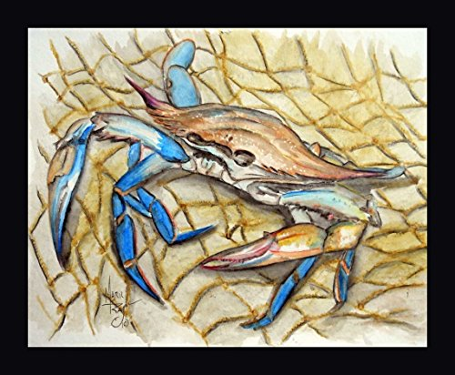 "Blue Crab by Mark Ray - 8""x10"" Framed Giclee Canvas Art Print - Ready to Hang"