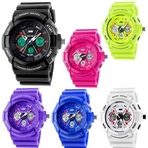 Unisex Fashion Sport Watch Analog/Digital Water Resist Dual Time Multifunction Alarm Led Wristwatch 0966