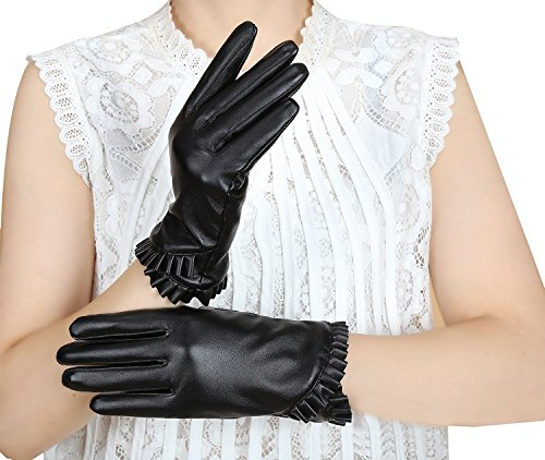 Bellady Womens Winter Warm PU Faux Leather Fleece Lined Touchscreen Texting Driving Short Gloves,Black-Short Stlye