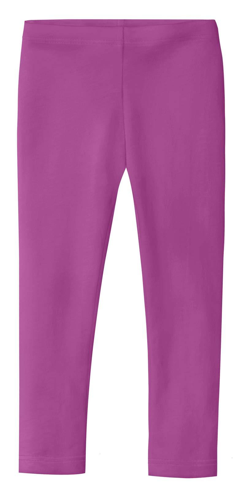 City Threads Girls' Leggings 100% Cotton for School Uniform Sports Coverage Play Perfect for Sensitive Skin SPD Sensory Friendly Clothing,Plum, 5
