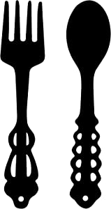 2 Pieces Metal Fork Spoon Wall Decor Big Black Fork Spoon Sign Metal Large Kitchen Rustic Decor Spoon Shaped Wall Sign Fork Shaped Hanging Sign Farmhouse Kitchen Wall Decors for Home Kitchen Decor