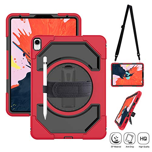 SUPFIVES iPad Pro 11 Protective Case with Pencil Holder, Heavy Duty Armor Shockproof Case with 360 Degree Rotation Stand, Adjustable Hand Strap Shoulder Strap for iPad Pro 11 inch 2018 (Black+Red) (Degree Stand Rotation 360)