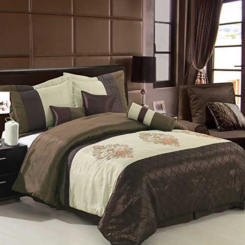 sheetsnthings 11 PC Queen Size Pacifica Coffee Bed in a Bag including: Comforter set and a Sheet set.