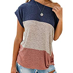 Asvivid Womens Casual Open Cold Shoulder Color Block Cotton Shirt Short Sleeve Side Knot Ladies T-Shirt Blouses M Blue