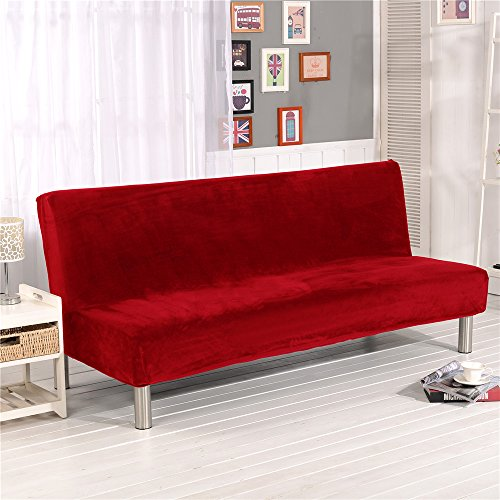 (19V78 Red Plush Sofa Cover,Sofa Bed Cover Futon Slipcover Solid Color Full Folding Elastic Armless 80 x 50 in)
