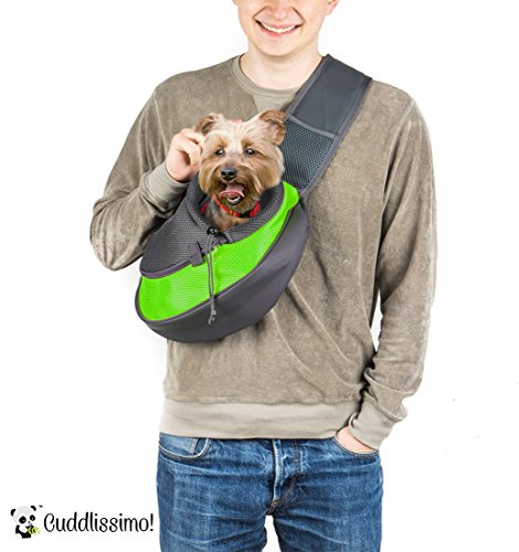 Cuddlissimo! Pet Sling Carrier - Small Dog Cat Sling Pet Carrier Bag Safe Reversible Comfortable Machine Washable Adjustable Pouch Single Shoulder Carry Tote Handbag for Pets Below 6lb (Green)