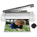 JZBRAIN 4-in-1 Thermal Laminator Machine, High-Speed Laminating, Cutting and Corner Rounding Tool for Home/Office/School, Two Roller Technology System (Gray)