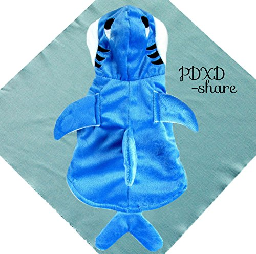 Genda 2Archer Adorable Blue Shark Pet Costume Hoodie Coat for Dogs and Cats (Adorable Dog Costumes)