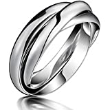 Three Circles Stainless Steel Silver Womens Rolling Ring US Size 7 8 9#by pimchanok shop (8)