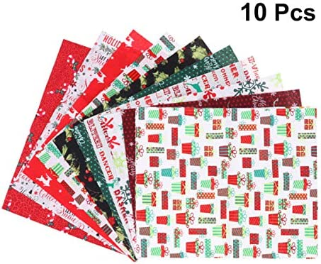 Supvox 10Pcs Christmas Cotton Fabric Squares Quilting Fabric Patchwork Precut Fabric Scraps for DIY Quilting for Xmas Sewing Crafting(7.8x9.8inch)
