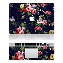"""Decalshut Flowers macbook decal stickers Vinyl floral protective skin Stickers cover for apple macbook decals (MacBook Pro 13.3"""" inch (A1278), Flowers 1)"""