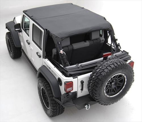 Smittybilt Extended Top Combo For Jeep JK Wrangler Unlimited 2010-15 - Includes Black Diamond Extended Top and Windshield Channel