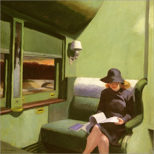 Posterlounge Alu Dibond 30 x 30 cm: Compartment C, Car 293 di Edward Hopper/Bridgeman Images