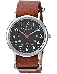 Unisex TW2R63100 Weekender 38 Brown/Black Leather Slip-Thru Strap Watch