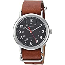 Timex Unisex TW2R63100 Weekender 38 Brown/Black Leather Slip-Thru Strap Watch