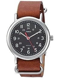 Timex Unisex TW2R63100 Weekender Brown/Black Leather Slip-Thru Strap Watch