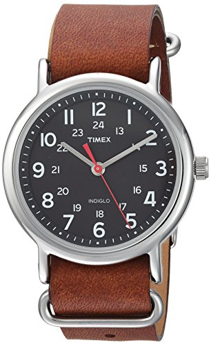 Timex Unisex TW2R63100 Weekender 38mm Brown/Black Leather Slip-Thru Strap Watch reviews