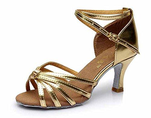 YFF Neue Women's Ballroom Latin Tango Schuhe 5 cm und 7 cm hohem Absatz,gold 1 7 cm,8.