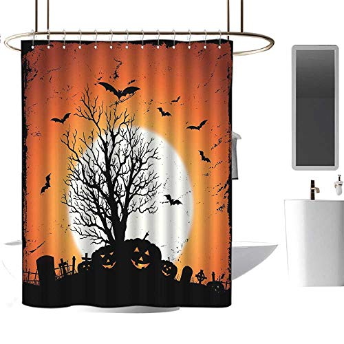 MKOK Colorful Shower curtain72 x78 Vintage Halloween,Grunge Halloween Image with Eerie Atmosphere Graveyard Bats Pumpkins,Orange Black,Hand Drawing Effect Fabric Shower -