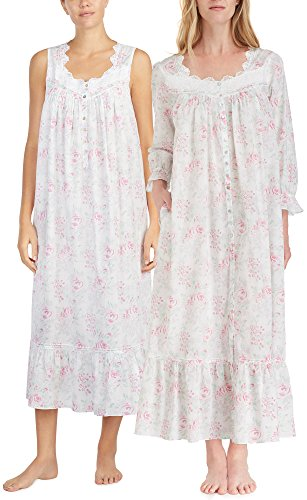 Eileen West Robe & Gown Set - Sleeveless Cotton Lawn Peignoir Set - Country Rose (White/Pink Floral, Large) by Eileen West
