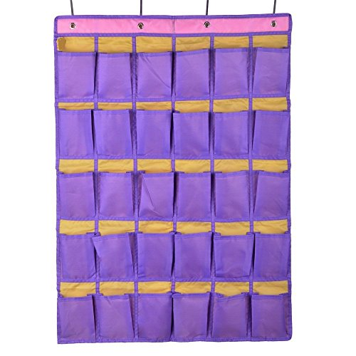 Wander Agio 30 Pocket Hanging Over The Door School Wall For Phone Or Sundries And Jewelry Accessories Oxford Cloth Closet Organizer Purple