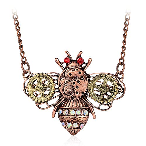 "Apopo Steampunk Bee Pendant Gear Necklace Charm Vintage Necklaces - 22""Chain"
