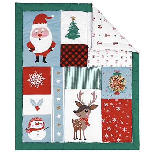 TILLYOU Christmas Winter Toddler Quilt- Warm Soft Baby Quilted Blanket - 39 x 47 Multi-Use Crib Comforter for Boys Girls-Christmas Theme