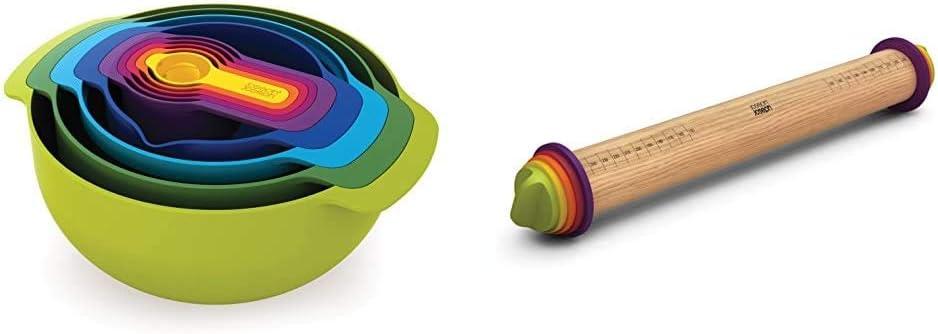 Joseph Joseph Nest 9 Plus 9 teiliges Speisevorbereitungs Set mehrfarbig & Einstellbares Nudelholz, 9 Einheiten mehrfarbig