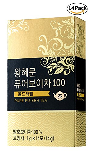 [Dr. MOON] Dr. Wang Hye Moon`s Pure Pu-erh Tea 100 Gold Label (1g x 14 packets)  100% Pure Pu-erh Tea from Yunnan Province, 1300-Days Fermented, High Antioxidant, Natural Metabolism Booster