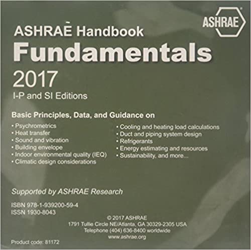 2017 ASHRAE Handbook -- Fundamentals (CD) - (includes CD in I-P and
