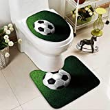 aolankaili Toilet carpet floor mat soccer football on grass field 2 Piece Shower Mat set