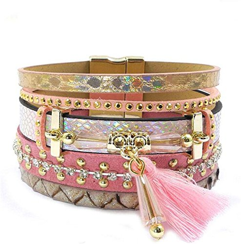 Price comparison product image KEBINAI 17 new Leather bracelet tassel crystal Bohemian bracelets bangles for women jewelry wholesale,pink19cm