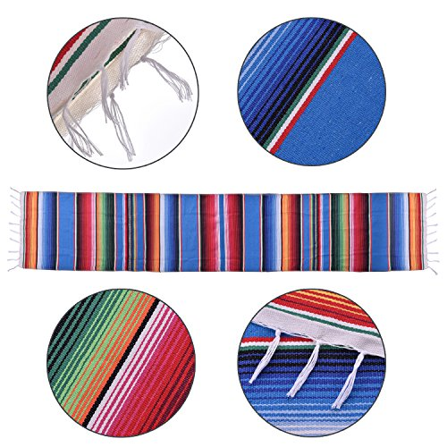 SevenFish Mexican Serape Table Runners for Mexican Party Table Decorations, 14 by 84 inch, Falsa Stripe Pattern