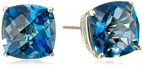 - 14k Yellow Gold Cushion-Cut Checkerboard London Blue Topaz Stud Earrings (8mm)