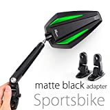 KiWAV Magazi Achilles motorcycle mirrors green fairing mount w/ matte black adapter for sports bike adjustable e