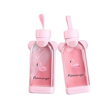 ILPjswu - 2 botellas de agua de cristal sin BPA, diseño de flamenco de moda