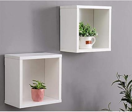 Etnicart Conjunto de Cubos de Pared estantes Blancos 25x15x25 estantes de Pared Paredes de Madera blanca-70x191x24-Conjunto de 2 Cubos de Pared ...