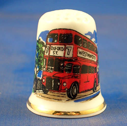 Porcelain China Collectable Thimble - London Bus with Free Gift Box