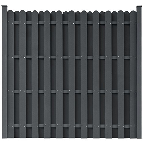 - BestHomeFuniture Garden Fence Panel WPC Outdoor Privacy Screen Square Barrier Enclosure, Grey