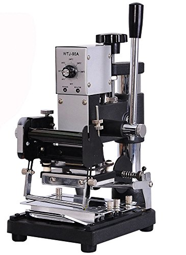 (KUNHEWUHUA Hot Foil Stamping Machine Manual Bronzing Tipper Stamper for PVC Card WTJ-90A 110v/220v)