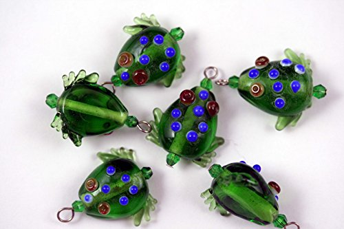 Tropical Design Clear Green Frog Lampwork Glass Bead (Pack of 6)