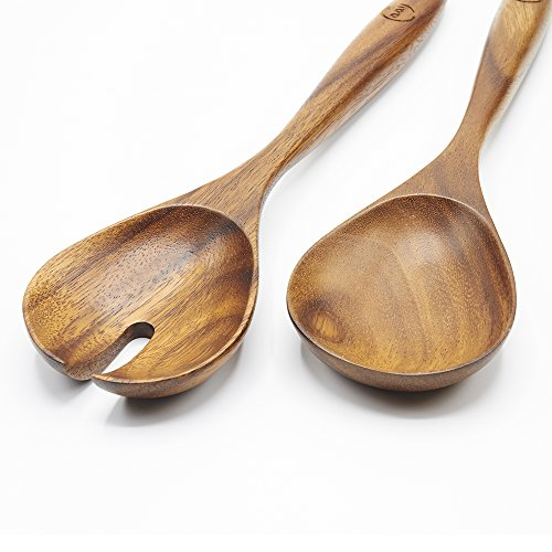 Salad Serving Utensils, Acacia Wood, Salad Spoon and Salad Fork, 13 inches in Length, Salad Servers by FAAY by FAAY (Image #2)