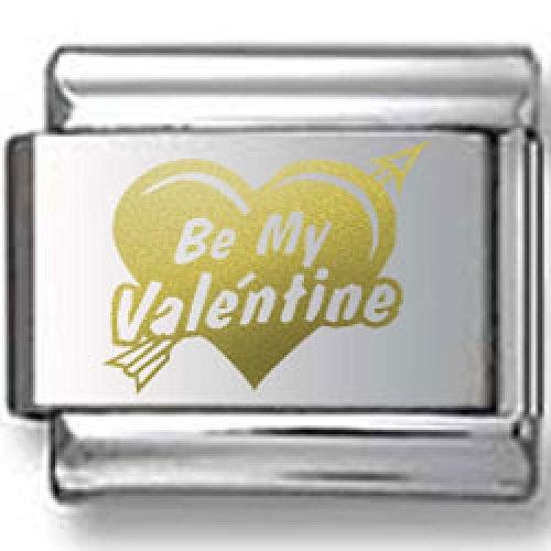 Valentines Day Bold Heart Gold Laser Italian Charm Bold Laser Italian Charm