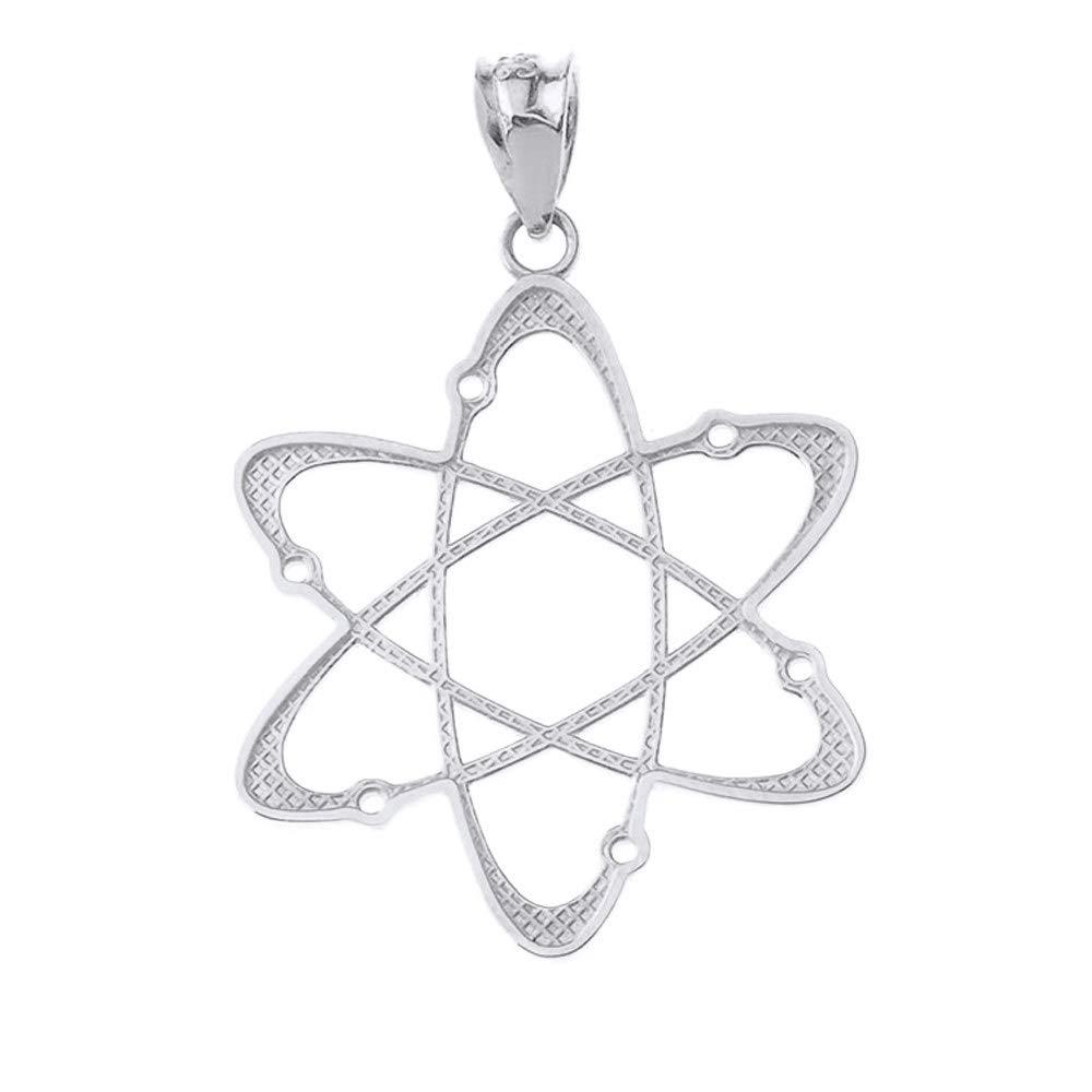 CaliRoseJewelry 14k White Gold Carbon Atom Science Reversible Charm Pendant