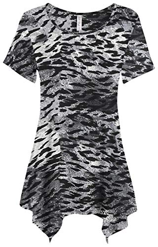 Womens Basic Tunic Top Reg and Plus Size Short Sleeve Flowy Loose T Shirt - USA (Size Small, Grey/Charcoal Animal Print) -