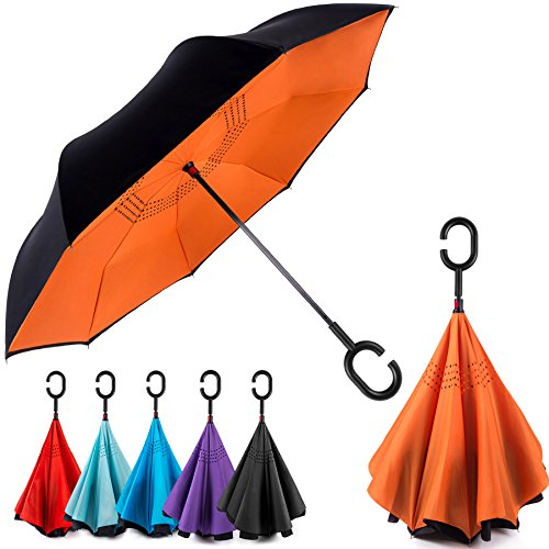 EEZ-Y Reverse Inverted Windproof Umbrella - Upside Down Umbrellas with C-Shaped Handle for Women and Men - Double Layer Inside Out Folding Umbrella (Kid Down One Coat Reversible)