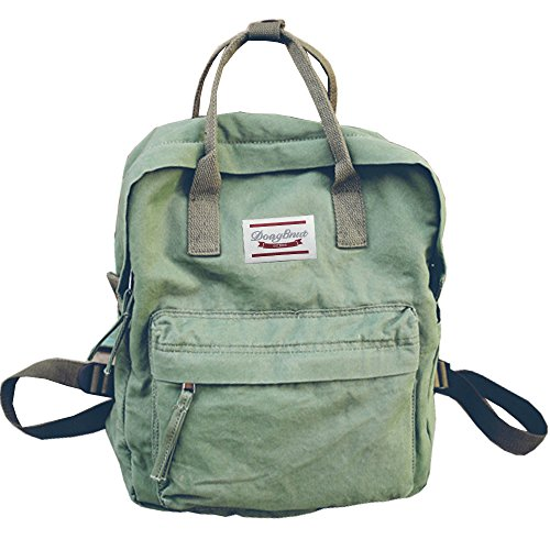 LuckyZ Womens Casual Style Lightweight Canvas Backpack School Bag Travel Daypack Medium Handbag Purse, Green