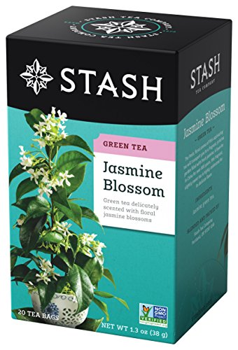 Stash Tea Jasmine Blossom Green Tea, 100 Count Box of Tea Bags Individually Wrapped in Foil (packaging may vary), Floral, Soothing Jasmine Green Tea, Medium Caffeine, Drink Hot or Iced